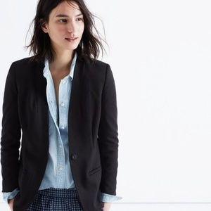 NWT Madewell Tribune Black Collarless Blazer 10